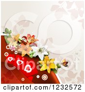 Clipart Of A Valentine Background With Lilies Foliage And Hearts Royalty Free Vector Illustration