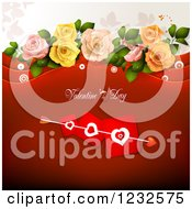 Clipart Of A Red Valentine Background With Cupids Arrow Through Heart Cards And Roses Royalty Free Vector Illustration