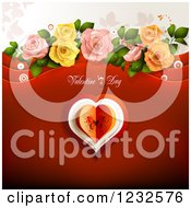 Clipart Of A Valentine Background With Text Over A Butterfly Heart Foliage And Roses Royalty Free Vector Illustration