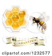 Clipart Of A Sticker Styled Bee Honeycombs And Guaranteed Banner Royalty Free Vector Illustration