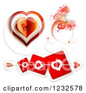 Clipart Of Cupids Arrow Through Red Heart Cards Butterfly And Valentine Royalty Free Vector Illustration