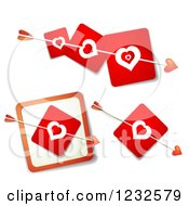 Cupids Arrows Through Red Heart Cards