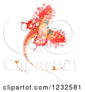 Clipart Of A Flying Valentine Butterfly Royalty Free Vector Illustration