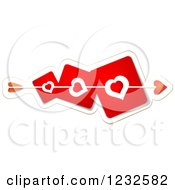 Clipart Of Cupids Arrow Through Red Heart Cards Royalty Free Vector Illustration