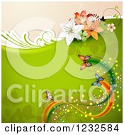 Clipart Of A Floral Background With Lilies Butterflies And Foliage On Green Royalty Free Vector Illustration