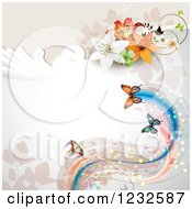 Clipart Of A Floral Background With Lilies And Butterflies Royalty Free Vector Illustration