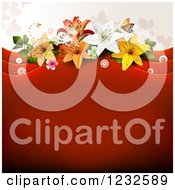 Clipart Of A Red Valentine Background With Foliage And Lilies Royalty Free Vector Illustration