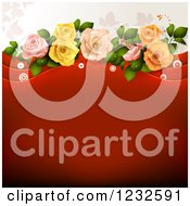 Clipart Of A Valentine Background With Foliage Roses And Red Text Space Royalty Free Vector Illustration