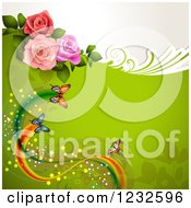 Green Background With Roses And Butterflies