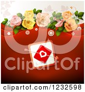 Clipart Of A Red Valentine Background With Cupids Arrow Through A Heart Card And Roses Royalty Free Vector Illustration