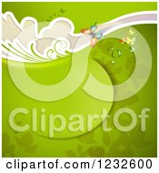 Clipart Of A Green Background With Butterflies Dew And Foliage Royalty Free Vector Illustration