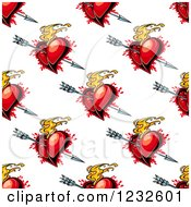 Clipart Of A Seamless Background Of Cupids Arrows And Flaming And Bloody Red Hearts Royalty Free Vector Illustration