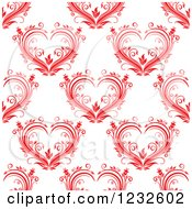 Clipart Of A Seamless Background Of Floral Red Hearts Royalty Free Vector Illustration