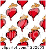 Clipart Of A Seamless Background Of Flaming And Bloody Red Hearts Royalty Free Vector Illustration