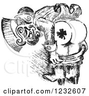 Clipart Of A Black And White Sketched St Patricks Day Leprechaun Mooning To Show His Shamrock Tattoo Royalty Free Vector Illustration by Andy Nortnik
