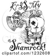 Clipart Of A Black And White Sketched St Patricks Day Leprechaun Mooning And Kiss My Shamrock Text Royalty Free Vector Illustration by Andy Nortnik