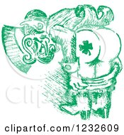 Clipart Of A Green Sketched St Patricks Day Leprechaun Mooning To Show His Shamrock Tattoo Royalty Free Vector Illustration by Andy Nortnik