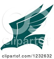 Clipart Of A Flying Teal Eagle Royalty Free Vector Illustration