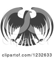 Clipart Of A Gray Eagle With Outstretched Wings 2 Royalty Free Vector Illustration