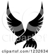 Clipart Of A Flying Black Eagle Royalty Free Vector Illustration