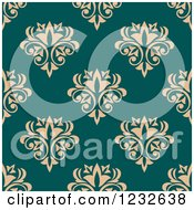 Clipart Of A Seamless Teal And Beige Damask Background Pattern Royalty Free Vector Illustration