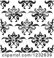 Clipart Of A Seamless Black And White Damask Background Pattern 5 Royalty Free Vector Illustration