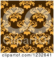 Clipart Of A Seamless Brown And Yellow Damask Background Pattern Royalty Free Vector Illustration