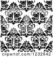 Clipart Of A Seamless Black And White Damask Background Pattern 2 Royalty Free Vector Illustration