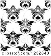 Clipart Of A Seamless Black And White Damask Background Pattern Royalty Free Vector Illustration