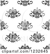Clipart Of A Seamless Black And White Damask Background Pattern 4 Royalty Free Vector Illustration