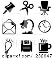 Clipart Of Black And White Business Icons 3 Royalty Free Vector Illustration