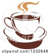 Clipart Of A Tan And Brown Hot Steamy Coffee Cup 12 Royalty Free Vector Illustration