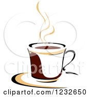 Clipart Of A Tan And Brown Hot Steamy Coffee Cup 11 Royalty Free Vector Illustration