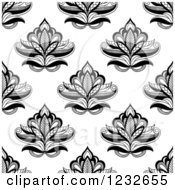 Clipart Of A Seamless Black And White Henna Lotus Flower Pattern Royalty Free Vector Illustration