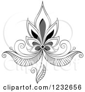 Clipart Of A Black And White Henna Lotus Flower 5 Royalty Free Vector Illustration