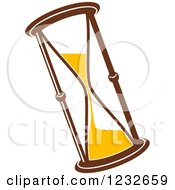 Clipart Of A Brown And Yellow Hourglass 3 Royalty Free Vector Illustration