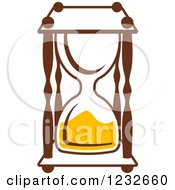 Clipart Of A Brown And Yellow Hourglass 4 Royalty Free Vector Illustration
