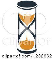 Clipart Of An Orange And Black Hourglass 14 Royalty Free Vector Illustration