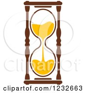 Clipart Of A Brown And Yellow Hourglass 7 Royalty Free Vector Illustration