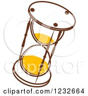 Clipart Of A Brown And Yellow Hourglass Royalty Free Vector Illustration