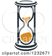 Clipart Of An Orange And Black Hourglass 16 Royalty Free Vector Illustration