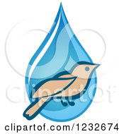 Clipart Of A Bird Over A Blue Waterdrop Royalty Free Vector Illustration by Vector Tradition SM