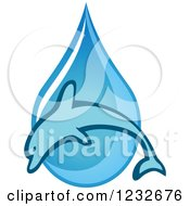 Clipart Of A Dolphin Over A Blue Waterdrop Royalty Free Vector Illustration by Vector Tradition SM