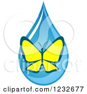 Clipart Of A Yellow Butterfly Over A Blue Waterdrop Royalty Free Vector Illustration by Vector Tradition SM