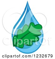 Clipart Of A Green Leaf Over A Blue Waterdrop Royalty Free Vector Illustration