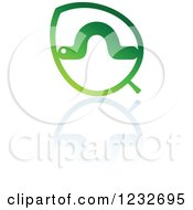 Clipart Of A Green Leaf And Caterpillar Reflection Logo 2 Royalty Free Vector Illustration by Vector Tradition SM