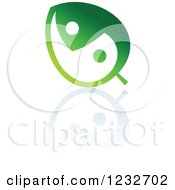 Clipart Of A Green Leaf Yin Yang And Reflection Logo Royalty Free Vector Illustration