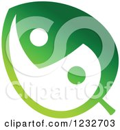 Clipart Of A Green Yin Yang Leaf Logo Royalty Free Vector Illustration