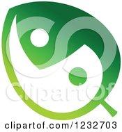 Green Yin Yang Leaf Logo