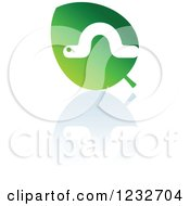 Clipart Of A Green Leaf And Caterpillar Reflection Logo Royalty Free Vector Illustration by Vector Tradition SM